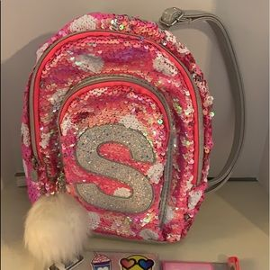 Justice sequin initial S backpack purse
